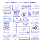 Vector western europe common travel visa stamps set Royalty Free Stock Image