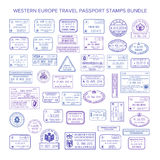 Vector western europe common travel visa stamps set.  vector illustration