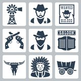 Vector  western icons set Royalty Free Stock Photo