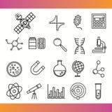 Vector wetenschappelijke pictogrammen Stock Afbeeldingen