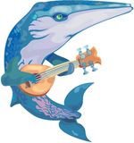 Vector whale musician Stock Image