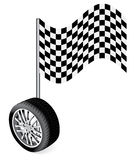 Vector wheel with race flag Royalty Free Stock Photo