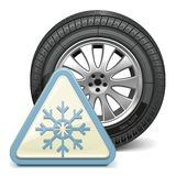 Vector Wheel with Snowflake Sign Stock Images