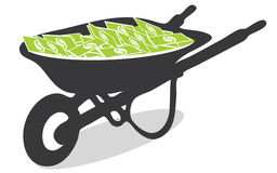 Vector Wheelbarrow Full of Cash Royalty Free Stock Photo