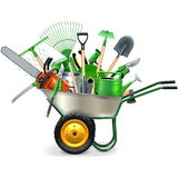 Vector Wheelbarrow with Garden Accessories. On white background Royalty Free Stock Photography