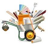 Vector Wheelbarrow with Painting Tools Stock Image
