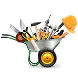 Vector Wheelbarrow with Tools. On white background Royalty Free Stock Photos