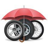 Vector Wheels under Umbrella Stock Image