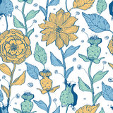 Vector whimsical flower garden seamless pattern Royalty Free Stock Photos