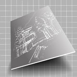 Vector white architecture sketch gray background. Vector gray architectural background with white plans Royalty Free Stock Photo