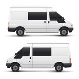 Vector white auto car. Vector illustration white auto car minibus for freight transportation Stock Photos