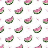 Vector white background with watermelon slices Stock Images