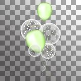 Vector white balloons with confetti on a transparent background stock illustration