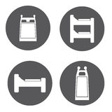 Vector white bed icon set Stock Images