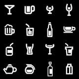 Vector white beverages icon set Stock Photo