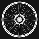 Vector white Bicycle wheels on black background Royalty Free Stock Photo