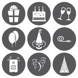 Vector white birthday icons se Royalty Free Stock Photos