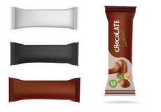 Vector White, Black, Brown Blank Food Packaging For Biscuit, Wafer, Sweets, Chocolate Bar, Candy Bar, Snacks . Design Template. Ch Royalty Free Stock Images