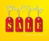 Vector White Black Friday Sale Text With Red Tags On Yellow Background. Black Friday Sale Promotion Template. Stock Image