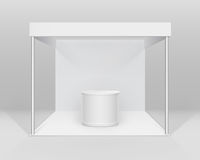 Vector White Blank Indoor Trade exhibition Booth Standard Stand for Presentation with Counter on Background Royalty Free Stock Photography