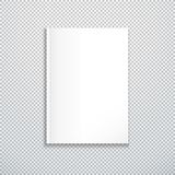 Vector white blank mock up vertical paper cover of closed magazine, booklet, brochure illustration realistic with shadow template. Design isolated on vector illustration