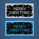 Vector white and blue christmas tetris cards. Two vector white and blue christmas cards in tetris style Royalty Free Stock Photos