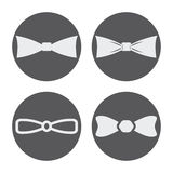 Vector white bow ties icons set. On black background Royalty Free Stock Image