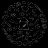 Vector white bread icon set on black background. Hand Drawn  white bread icon set on black background Royalty Free Stock Photography