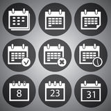 Vector white calendar icons set Royalty Free Stock Image