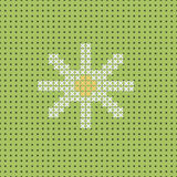 Vector white camomile on green field. Seamless pattern, canvas Royalty Free Stock Photography