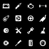 Vector white car parts icon set Stock Photos