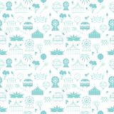 Vector white carnival elements in pastel blue seamless pattern background vector illustration