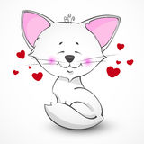 Vector white cat lover. Vector illustration with the image of a white cat. Funny cat with red hearts. A picture of a cartoon cat on the theme of love Royalty Free Stock Photos