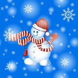 Vector white Christmas snowman in a hat and striped scarf.. Vector white Christmas snowman in a hat and striped scarf. Cartoon funny character. Background for Royalty Free Stock Images