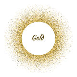 Vector white circle frame on the gold glitter background. Vector illustration Stock Images