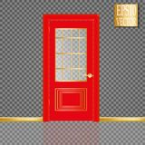 Vector White Closed Door with Frame  on Background. Eps10 Royalty Free Stock Photos