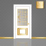Vector White Closed Door with Frame  on Background. Eps10 Stock Image