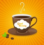 Vector white coffee cup and text cloud. Stock Image