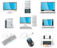 Vector white computer icon set. Part 1. PC Stock Images