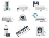 Vector white computer icon set. Part 3. USB device. Set of icons representing realistic computer components Royalty Free Stock Photo