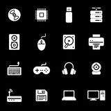 Vector white computer icons set Stock Image