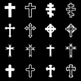 Vector white crosses icon set Stock Images