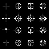 Vector white crosshair icon set Stock Images