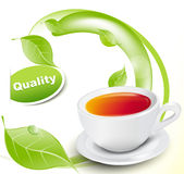 Vector white cup of tea with leaves Royalty Free Stock Images