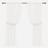 Vector White Curtains Isolated on alpha background. Stock Images