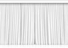Vector White Curtains Isolated on White Background Stock Images