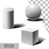 Vector white 3D sphere, cube and cylinder. with shadows. Vector white 3D sphere, cube and cylinder. Simple geometric form. Set of realistic white geometric Stock Photos