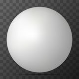 Vector white 3D sphere with realistic shadow. And light for logo, design concepts, web, presentation. 3D Vector illustration on transparent background. Simple Stock Image