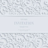 Vector White 3d Vintage Christmas or Invitation Cards Background with Swirl Damask Pattern Royalty Free Stock Photo