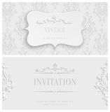 Vector White 3d Vintage Invitation Card with Floral Damask Pattern Royalty Free Stock Photography